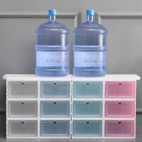 2PCS Plastic Drawer Shoe Home Storage Box Stackable Organiser Transparent