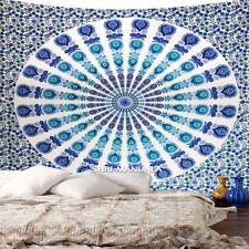 Mandala Tapestry Queen Size Hippie Wall Hanging Blue Green Peacock Mandala Throw