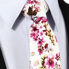 New Mens Necktie Tie Pink Cream Green Floral Paisley Silk Woven Wedding