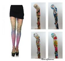 Patterned Tights Printed Funky Alternative Tattoo  Suspender Bright Fun Colours
