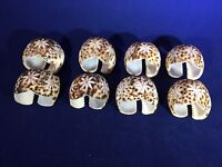 Vintage Set of 8 Carved Cowry Shell Serviettes Napkin Rings Beach House Decor