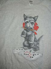 VTG 90's Women's Scottish Terrier night shirt gray Scottie Dog