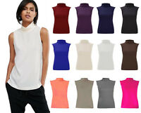 Ladies Sleeveless Polo Turtle Neck Womens Jersey Top lot **all sizes available**