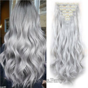 """Top Secret 18 Clips Real Thick Clip In Natural Hair Extensions Silver Grey 24"""""""