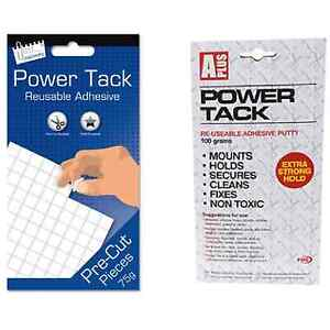 Power Tack Reusable Adhesive Sticky Strips Squares White Putty Like Blue Tac DIY