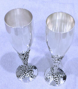 Grape Champagne Flutes - Silver Plated & Antique Style Finish . 8.25 inches Tall