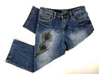 Lena Womens Jeans Capris Size 8 Mid Rise Medium Wash