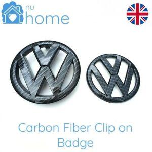 Carbon Fibre Front & Rear Badge Grill Boot Emblems Logo Set (Fits: VW Golf MK6)