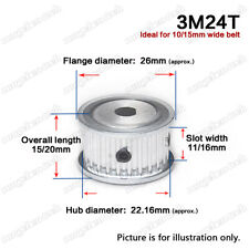 3M-24T Timing Belt Drive Pulley Wheel D-shaped Bore 3mm Pitch for 10/15mm Belt