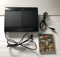 Sony PS3 Super Slim Black Console 250 GB TESTED w/ Borderlands 2 NO CONTROLLER*