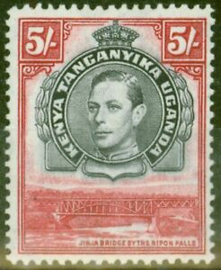 KUT 1944 5s Black & Carmine SG148b P.13.25 x 13.75 V.F Very Lightly Mtd Mint