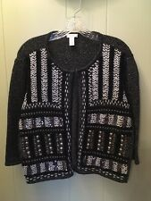 Chicos Open Knit Sweater Cardigan Sequin Embellished – 2