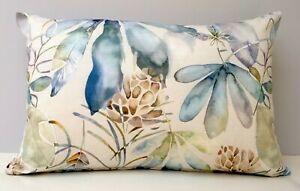Voyage Designer Cushion Cover Lowther Capri Leaf & Pine Cone Blue Green Lilac