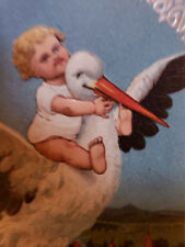 Newborn Baby Rides Stork New Baby Unused Vintage Embossed Postcard
