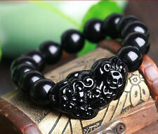 CHINESE Black JADE Bead Dragon Pi Xiu Coin Bangle Feng Shui Bracelet