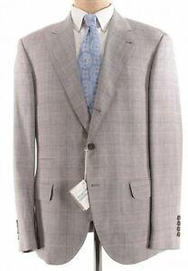 Brunello Cucinelli NWT Sport Coat 44R In Light Gray Plaid Wool Silk Linen $3,295