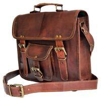 """15""""  Men's Genuine Vintage Brown Leather Messenger Shoulder Laptop Bag computer"""