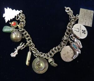 VINTAGE STERLING CHARM BRACELET 1950S WITH MISC CHARMS 7 INCH