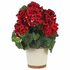 """Luxury Red Geranium Faux Silk Plant - 17"""""""