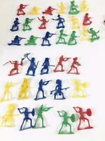 """Plastic Toy Cowboy Indian Native American Lot 34 Mini 2"""" Figures Asst Poses Play"""