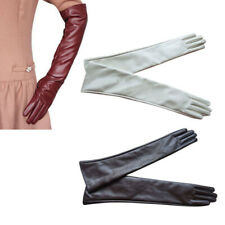 Long Leather Women Gloves Elbow Lined Soft Ladies Winter Warm Evening Party New