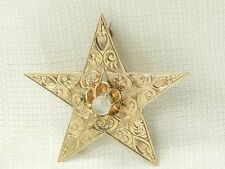 Estate Antique 14K Gold Buttercup Set Moonstone Star Engraved Pattern Pin Brooch
