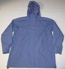 Womens L.L. Bean Waterproof Windbreaker Nylon Rain Hooded Jacket Medium Blue