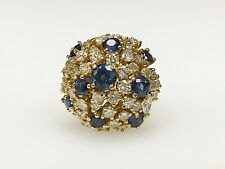 14K Yellow Gold 4 CTTW Natural Diamond & Blue Sapphire Bombe Style Cocktail Ring
