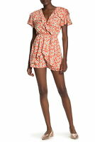 Angie Womens Romper Orange Size Large L Ruffle Floral-Print Surplice $46- 142