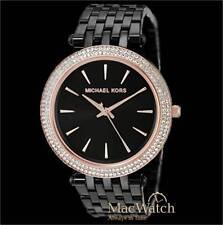 Michael Kors Damen Uhr MK3407, schwarz, rose Edelstahl NEU OVP
