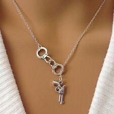 "1-1/4"" HANDCUFFS & 7/8"" GUN - 18"" Chain Pendant Necklace"