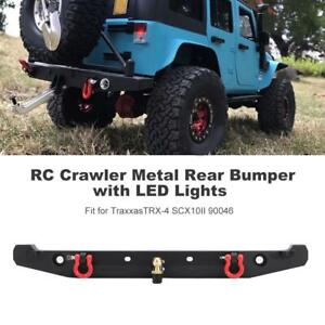RC Crawler Metal Rear Bumper with LED Lights for Traxxas TRX4 SCX10II 90046 Car