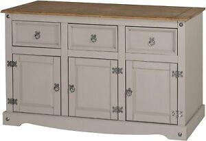 Grey Large Sideboard Cupboard Display 3 Doors & Drawers Cabinet Kitchen Hallway