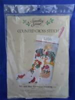 Counted Cross Stitch Stocking Kit Mr & Mrs Snowman 50214 Vintage