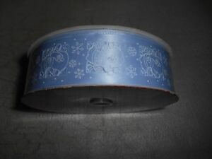 """KIRKLAND Wired Edged Blue Snowman Ribbon NEW 1.5"""" by 50 Yards"""