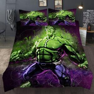 Marvel Hulk Duvet Cover with Pillow Cases Quilt Cover Bedding Set All Sizes New