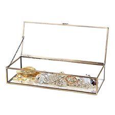 Vintage Brass Metal & Clear Glass Box Jewelry Organizer Case Plant Terrarium AY