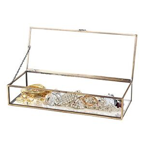 Vintage Metal Glass Storage Box Gold Tray Jewelry Cosmetics Display Box Durable