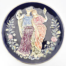 Antique Victorian Majolica Plate Greek Goddess Barbotine Revival Historism
