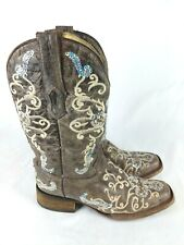 A2932 CORRAL Womens Silver Sequin Cross Cowgirl Boot Wide Square Toe