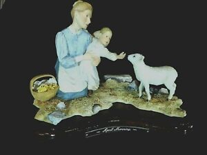 """Sherratt And Simpson Large Figurine """" April Morning """" Mother Daughter Feed Lamb"""