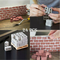 24Pcs Kids Mini Cement Cinder Bricks Toy Build Your Own Tiny Wall Grey/Red Brick