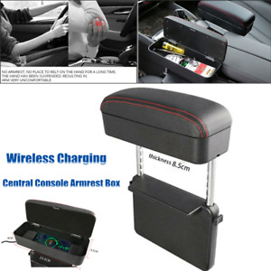 1×Car Retractable Console Armrest Box Wireless Charging Storage Case Cup Holder