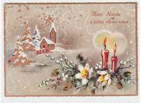 Tarjeta Postal Navidad Iglesia Paisaje Nevado Velas Decoraciones Felicitación 70