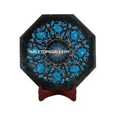 """12"""" Green Marble Coffee Table Top Tuquoise Floral Semi Precious Inlay Decor M103"""