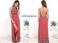 Mink Pink Dress - Mink Pink Spice Market Halter Maxi Summer Dress Thigh Split