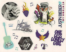 "Justin Bieber Stickers Decal Sheet Sticker Adhesive 5.75"" x 4.5"" NEW"