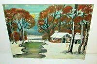1930 Folk Art Oil Painting Midwestern Winter Landscape Iowa Farm Naive Antique