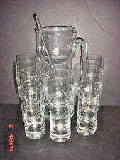 VINTAGE TOSCANY HANDMADE CRYSTAL PITCHER, STIR &  5 TALL GLASSES ROMANIAN