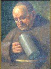 """Gemälde von Wilhelm Gdanietz """"Mönch mit Bierkrug"""" Öl/Leinwand"""